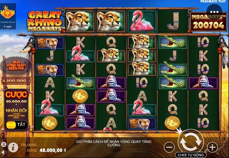 Vwin99 giới thiệu cách chơi Slot Game : Great Rhino Deluxe - Trò chơi PP