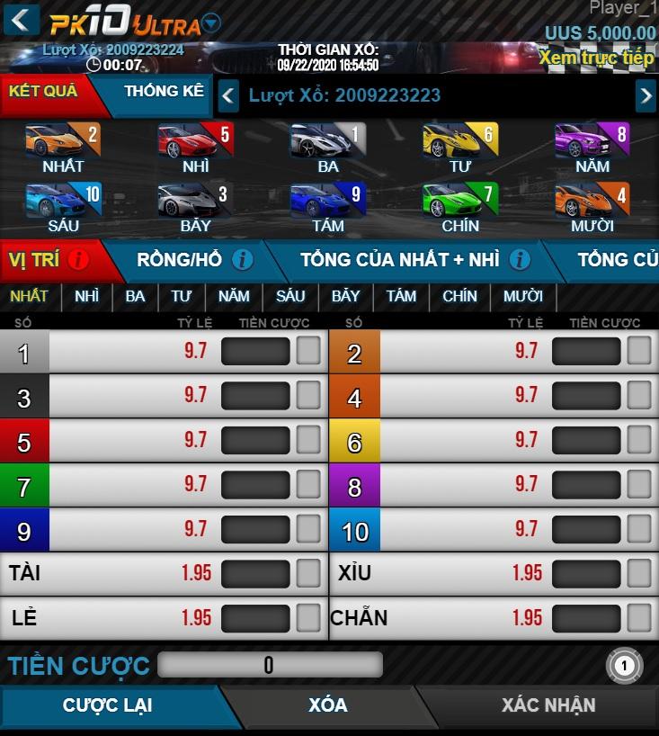 Vwin99 hướng dẫn cách chơi đua xe PK10 - mục Xổ số Vwin