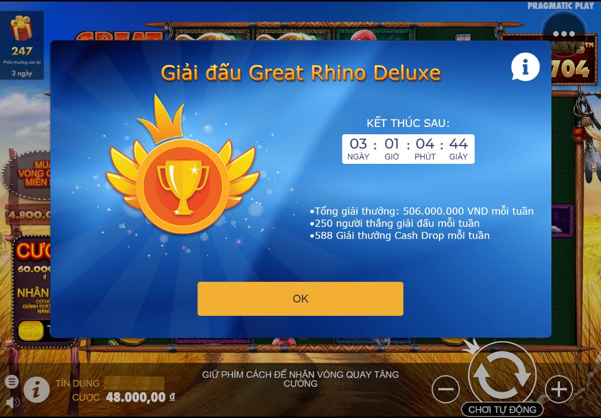 Vwin99 giới thiệu cách chơi Great Rhino Deluxe - Trò chơi PP