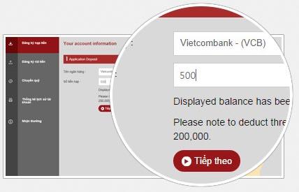 Chuyển 500 từ VCB vào Vwin