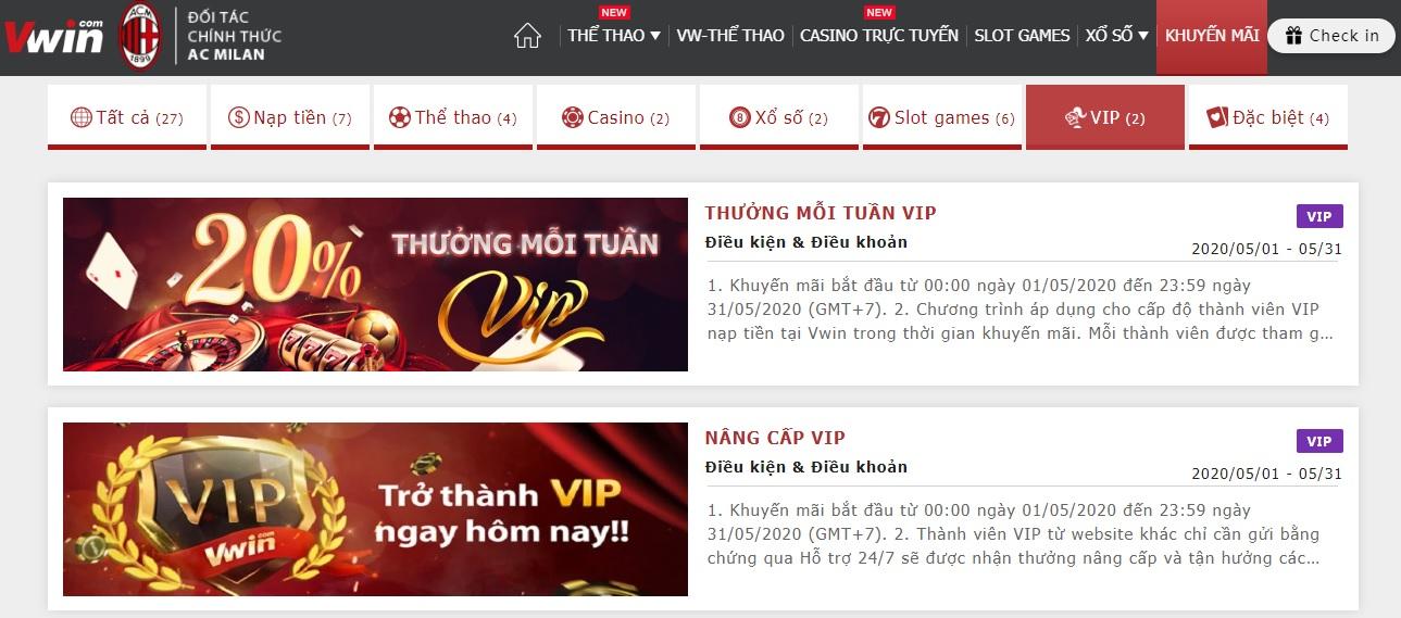 khuyến mãi hấp dẫn khi bạn là thành viên VIP Vwin ✅